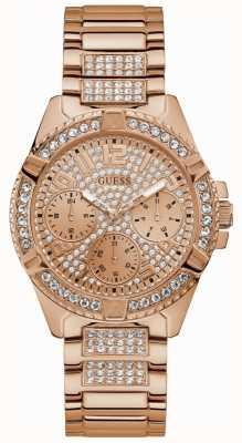 Guess Женские розовые золотые часы с розовым золотом с кристаллами W1156L3