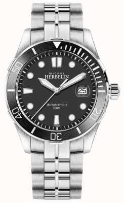 Michel Herbelin Серебряный браслет Mens Newport трофей серебряный черный 1660/N14B