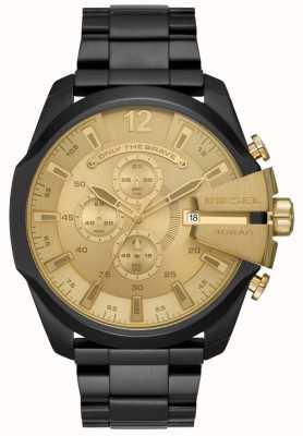 Diesel Mens mega главный черный ионный металлизированный браслет золотой браслет DZ4485