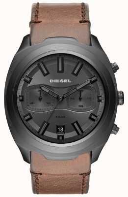 Diesel Мужские тумблеры серого хронографа коричневые кожаные ремешки смотреть DZ4491