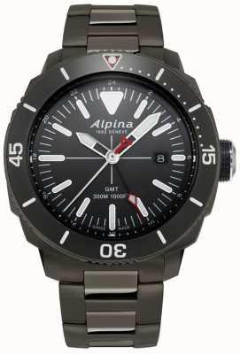 Alpina Mens seastrong diver gmt watch с черным титановым покрытием AL-247LGG4TV6B
