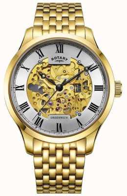 Rotary Мужские зеленые автоматические позолоченные скелетные часы GB02941/03