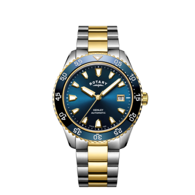 Rotary Мужские хэндли автоматический двухцветный браслет синий циферблат GB05131/05