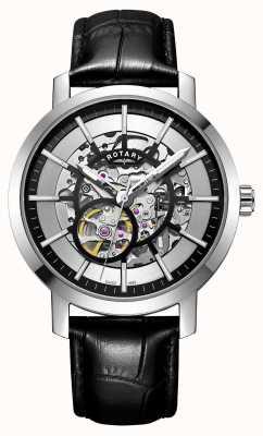 Rotary Мужские зеленые черные кожаные ремешки скелетные часы GS05350/02