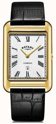 Rotary Мужские часы Cambridge Date Gold Square черный кожаный ремешок GS05283/01