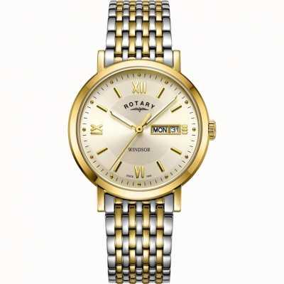 Rotary Мужские часы Windsor | двухцветный ремешок из нержавеющей стали | GB05301/09