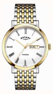 Rotary Мужские виндзорские двухцветные серебряные и золотые часы GB05302/01