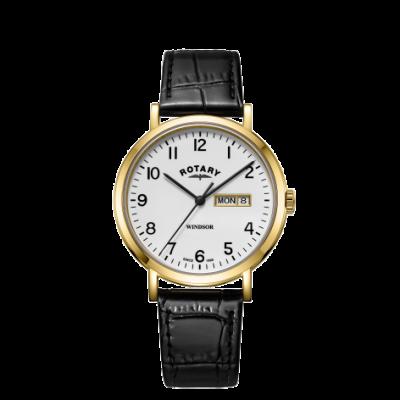 Rotary Мужская виндзор черный кожаный ремешок золотой тон чехол GS05303/18