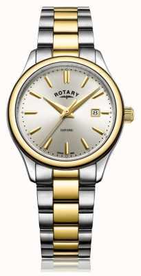 Rotary Женские оксфорд двухцветные золотые серебряные браслеты смотреть LB05093/03
