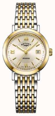 Rotary Женские двухцветные золотые и серебряные часы с браслетом windsor LB05301/09