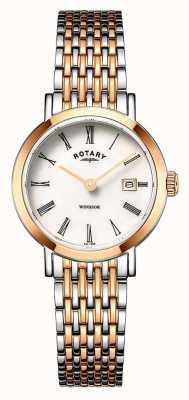 Rotary Женские часы Windsor с двумя тонами из розового золота и серебра LB05302/01