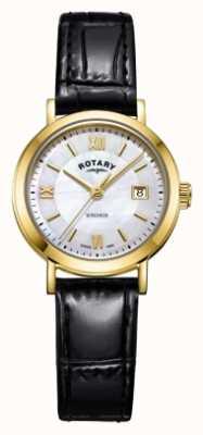 Rotary Женская ветряная перламутровая черная кожаная ремешка LS05303/41