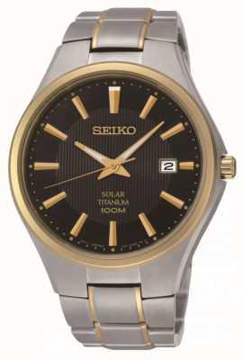 Seiko Мужские солнечные двухцветные часы с титановым браслетом SNE382P9