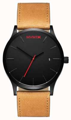 MVMT Классический черный загар | коричневый кожаный ремешок | черный циферблат D-L213.5L.351