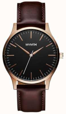 MVMT 40 серия розовое золото коричневый | коричневый ремешок | черный циферблат D-MT01-BLBR