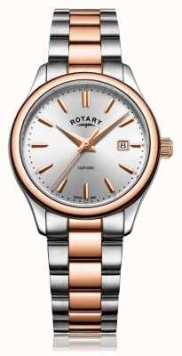 Rotary Женский оксфорд двухцветный браслет розового золота LB05094/06
