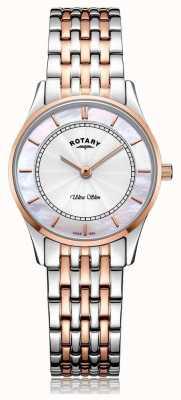Rotary Женщины ультра тонкий двухцветный браслет перламутровый циферблат LB08302/02