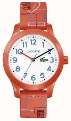 Lacoste 12.12 детский оранжевый ремешок белый циферблат 2030010