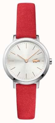 Lacoste Луна маленький красный кожаный ремешок серебристый 2001048