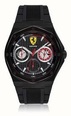 Scuderia Ferrari Мужчины стремятся черный резиновый ремешок черный кейс дата отображение 0830538
