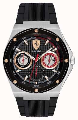 Scuderia Ferrari Мужчины стремятся черный резиновый ремень золотые акценты дисплей даты 0830556
