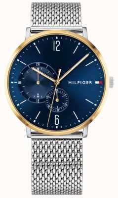 Tommy Hilfiger Mens Миланский корпус из нержавеющей стали синий циферблат позолоченный 1791505