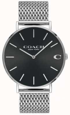 Coach Мужские браслеты серебряные сетчатые браслеты черный циферблат 14602144