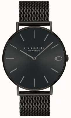 Coach Мужская черная черная сетка браслет черный циферблат 14602148
