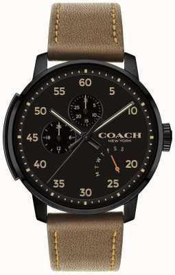 Coach Мужские часы с многофункциональным черным циферблатом 14602339