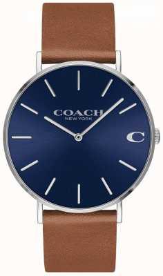 Coach Шарм мужской коричневый кожаный ремешок синий циферблат 14602151