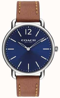 Coach Мужские тонкие часы с синим циферблатом и коричневым кожаным ремешком 14602345