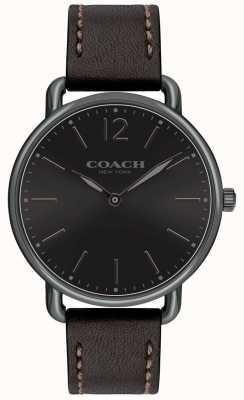Coach Мужские тонкие часы с черными кожаными ремешками delancey 14602346