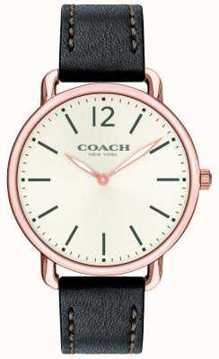 Coach Мужские тонкие часы delancey с белым циферблатом, черный кожаный ремешок 14602347