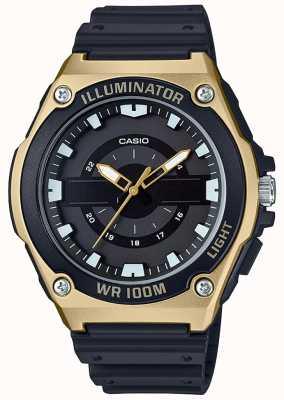 Casio Мужские часы из черного и золотого осветителя MWC-100H-9AVEF
