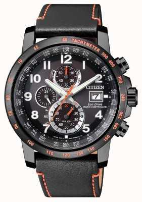 Citizen Мужская радиоуправляемая кожа eco-drive world timer chrono AT8125-05E