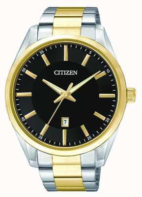 Citizen Мужской кварцевый черный циферблат | двухцветный ремешок из нержавеющей стали | BI1034-52E