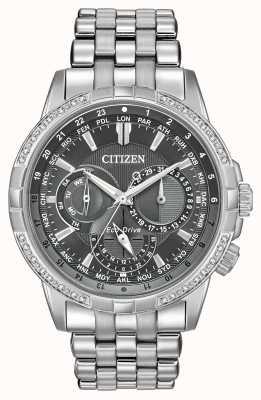 Citizen Эко-драйв календара из нержавеющей стали 32 бриллианта, серый циферблат BU2080-51H