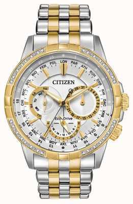 Citizen Мужская календаря эко-диска двухтональный 32 бриллианта серебристый циферблат BU2084-51A