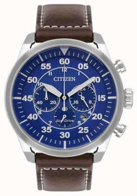 Citizen Мужская avion эко-синяя циферблат коричневого кожаного ремешка wr100 CA4210-41L