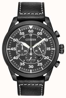 Citizen Мужской avion eco-drive черный кожаный черный циферблат хронограф CA4215-21H