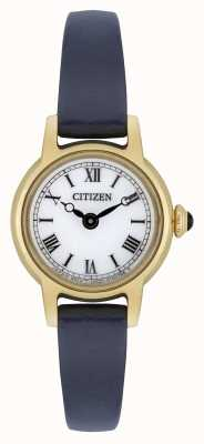 Citizen Женская эко-синяя кожаная ремешка с позолоченным белым циферблатом EG2995-01A
