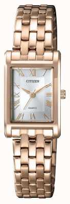 Citizen Женская кварцевая позолоченная прямоугольная серебристая шкала EJ6123-56A