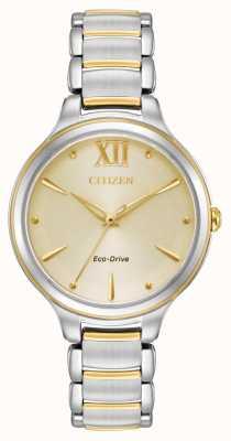 Citizen Женская эко-диск двухцветный золотой диск wr50 EM0554-82X