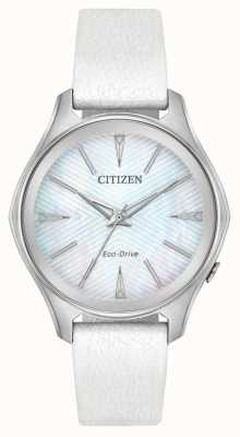 Citizen Белый кожаный ремешок из белого серебра EM0590-03D