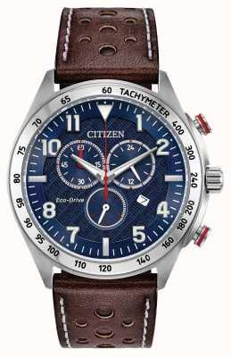 Citizen Мужской эко-синий синий коричневый кожаный хронон 100 м AT2418-00L