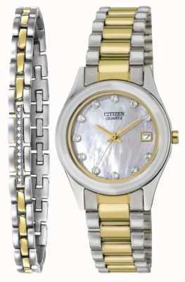 Citizen Женская кварц из перламутрового часового и браслетного набора EU2664-59D-SETR