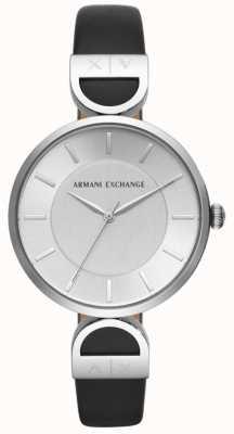 Armani Exchange Черный циферблат из черной кожи Black Brooke AX5323