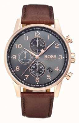 Boss Хронограф навигатор с индикацией даты черный циферблат коричневая кожа 1513496