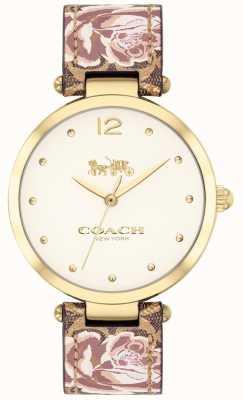 Coach Женские парковые часы цветочный кожаный ремешок золотой тон 14503178