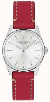 Coach Женские современные роскошные часы с красным кожаным ремешком 14503205